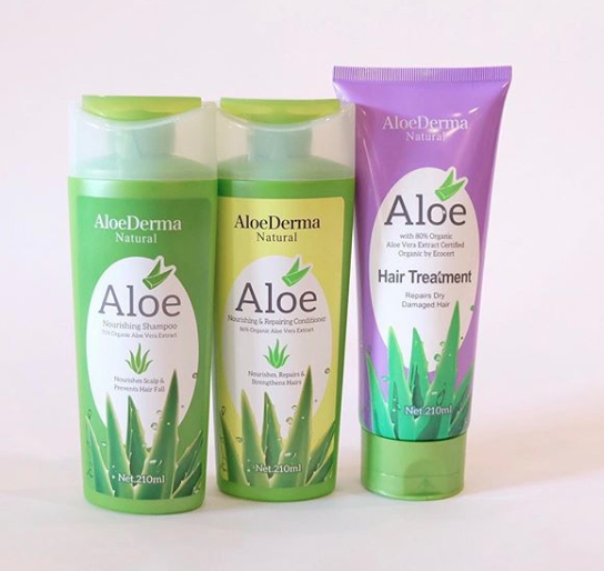 AloeDerma shampoo, conditioner, hair treatment